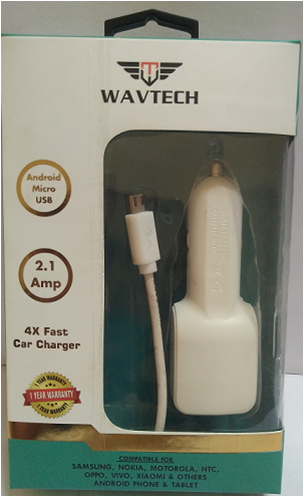 4x Micro USB Car Charger 2.1 Amp