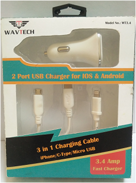 3 in1 Car Charger 3.4 Amp