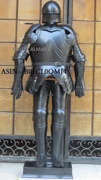 NauticalMart Gothic Black Antique Full Suit of Armor Medieval Armor Wearable Costume