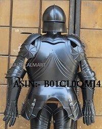 NauticalMart Gothic Black Antique Full Suit of Armor Medieval Armor Wearable Costume