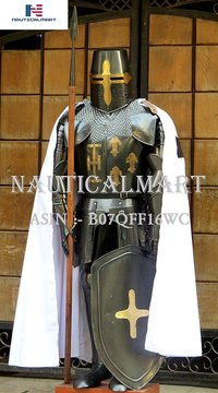 NauticalMart Medieval Knight Crusader Full Suit of Armor, Shield, Spear, Cloak, Collectible - Halloween Costume