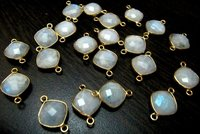 Natural White moonstone double loop briolette connector Cushion shape size 11mm gold plated.