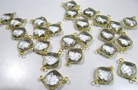 2 Pcs Natural Rock Crystal double loop briolette connector Cushion shape 11mm gold plated.