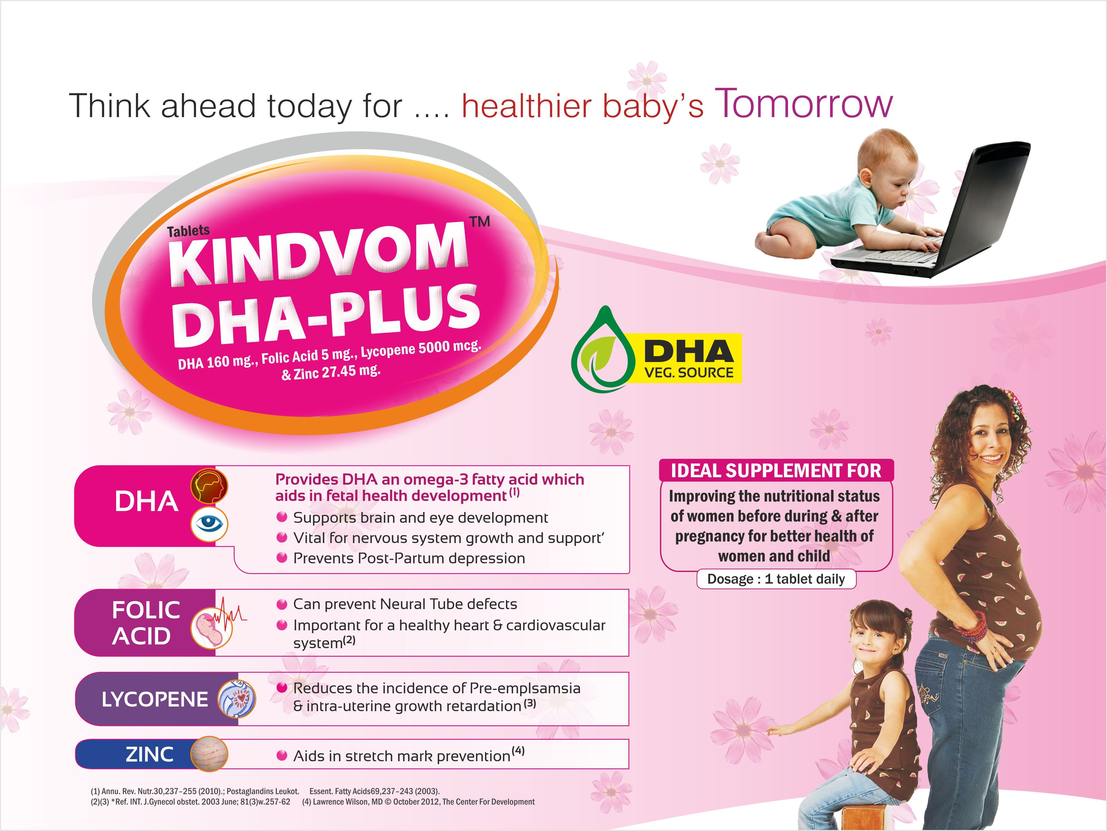DHA 200 mg,Lycopene 5000 mcg Folic Acid 5 mg & Zinc 27.45 mg
