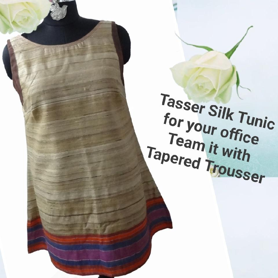 Tassar Silk Tunic  with boat neck line