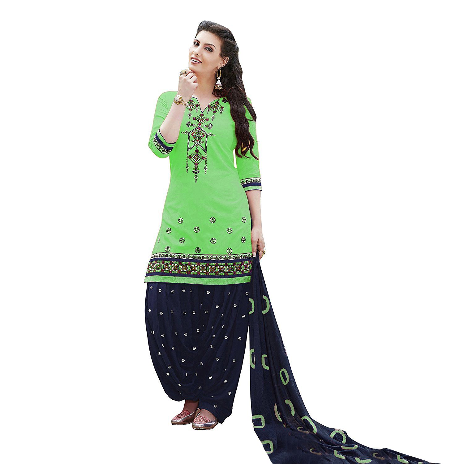 Cotton & Rayon embroidered Unstitched Salwar Suit Collection