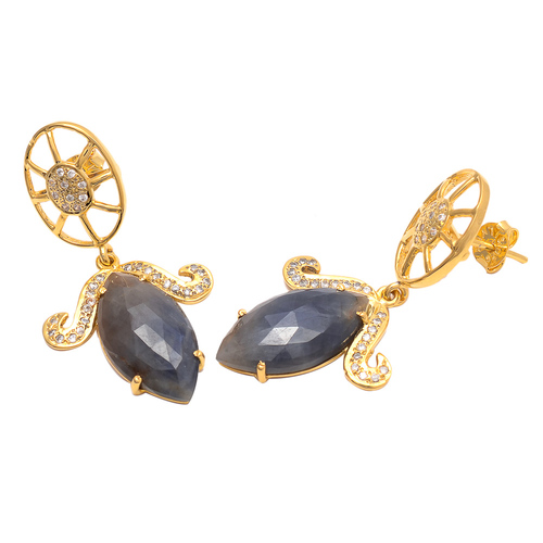 Labradorite & White Cz Gemstone Earrings