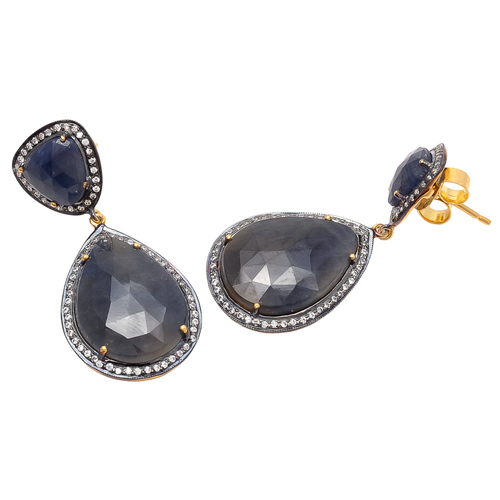 Labradorite & White Cz Gemstone Earrings