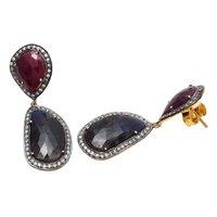 Labradorite Dyed Ruby & White Cz Gemstone Earrings