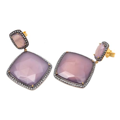 Pink Chalcedony & White Cz Gemstone Earrings