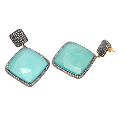 Aqua Chalcedony & White Cz Gemstone Earrings