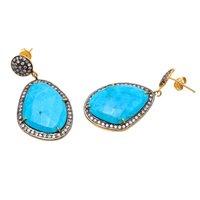 Turquoise & White Cz Gemstone Earrings