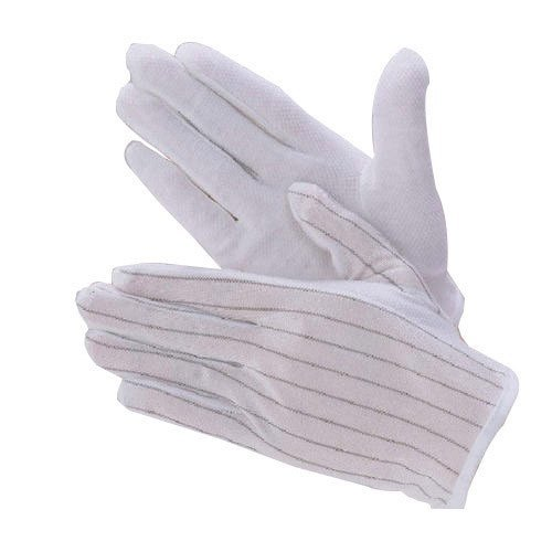 White Unisex ESD Dotted Gloves, for Cleanroom