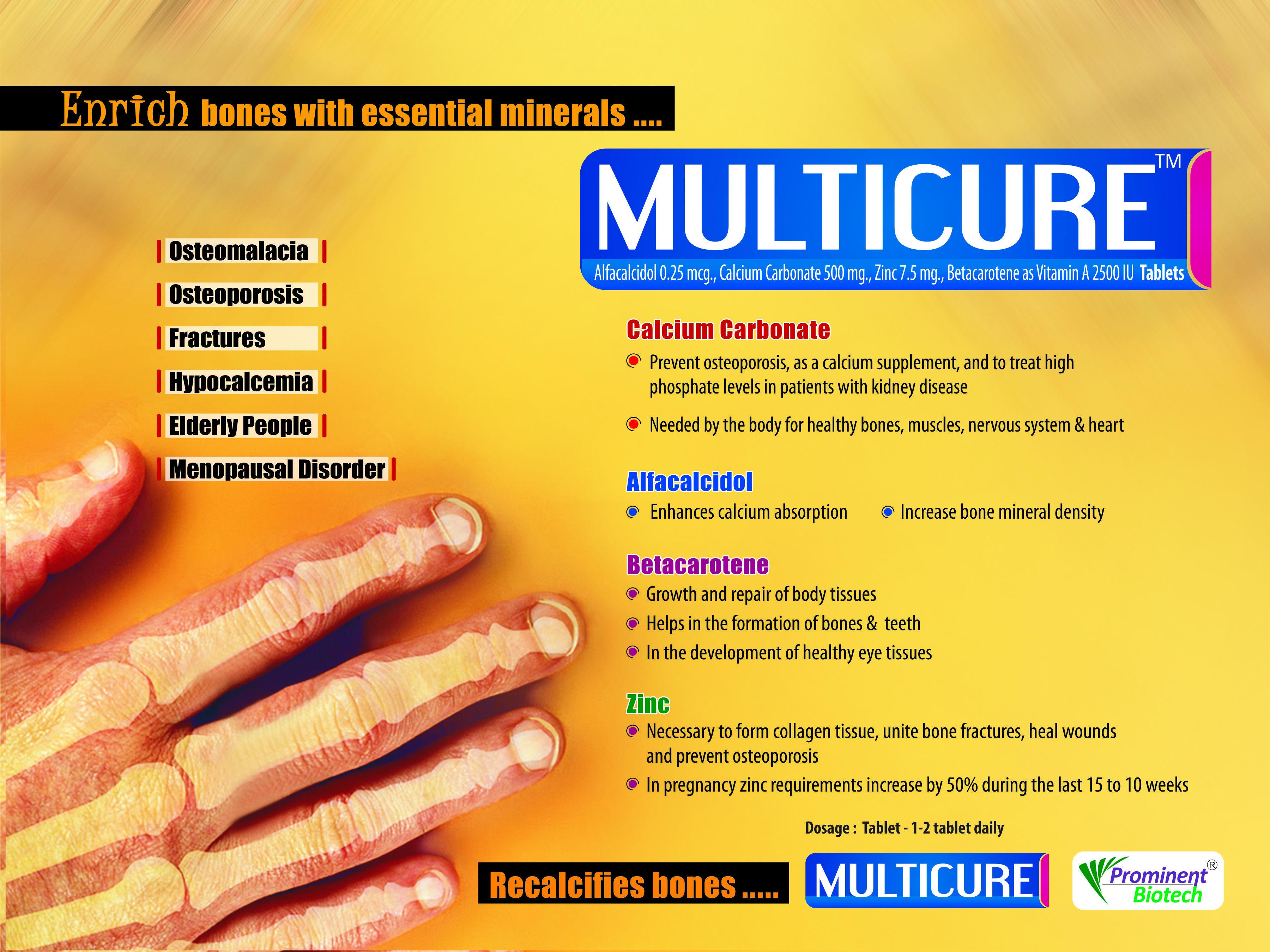 Cal. Carbonate 500 mg, Alfacalcidol 0.25 mcg, Zinc 7.5 mg & Vit. A 2500 IU,
