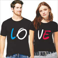 Half Sleeves Cotton Couple T-Shirt Set