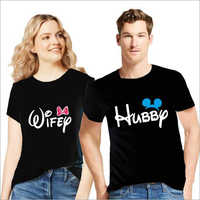 Round Neck Cotton Couple T-Shirt Set