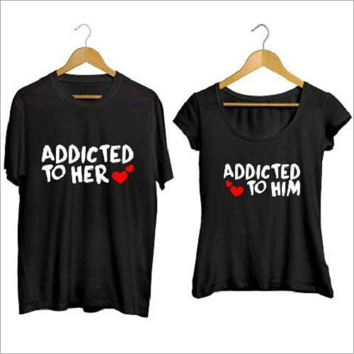 Black Printed Couple T-Shirt Set