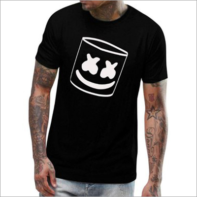 Mens Cotton Black Printed T-Shirt