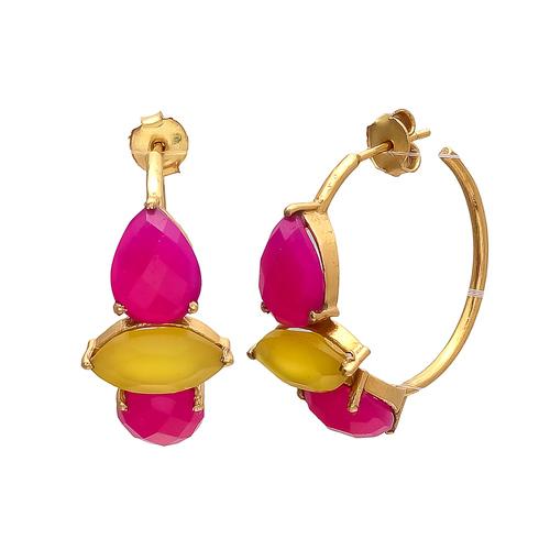 Fuchsia & Yellow Chalcedony Gemstone Earrings