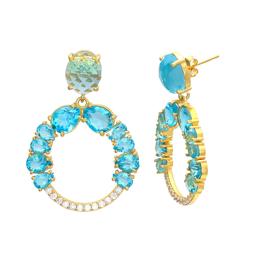 Blue Topaz Hydro & White Cz Gemstone earring