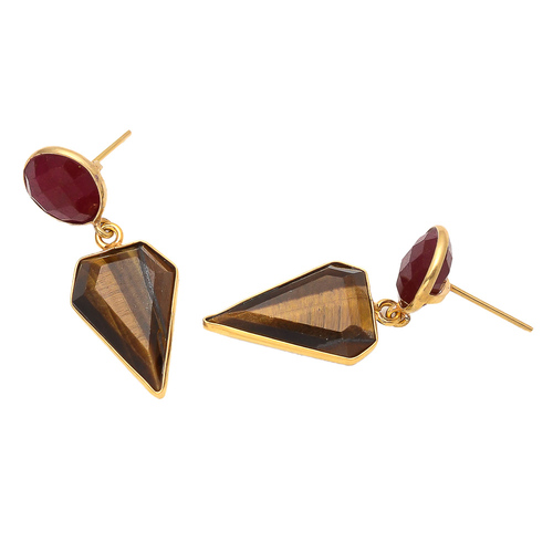 Tiger Eye & Dyed Ruby Gemstone Earrings