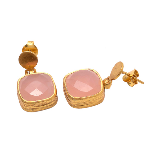 Pink Chalcedony Gemstone Earrings