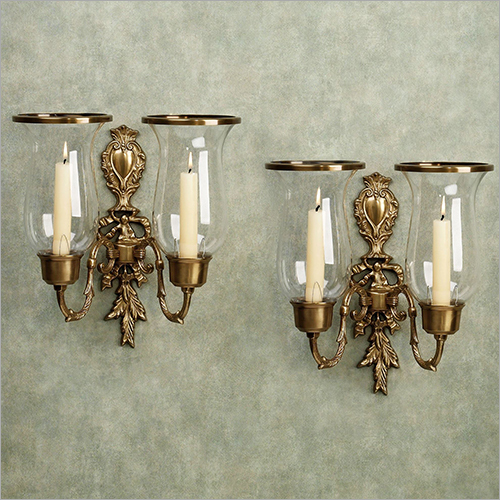 Antique Brass Wall Mount Candle Holder