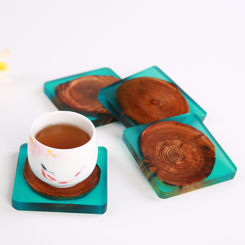 4 Pcs Set Epoxy Resins on Wood Coasters Handmade Square Coaster wood art