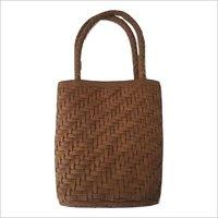 Brown Leather Weaved HandBag