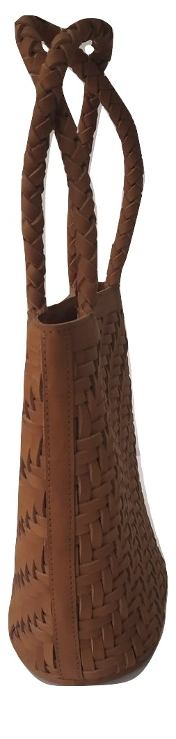 Brown Leather Weaved HandBag