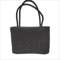 Black Leather Weaved HandBag