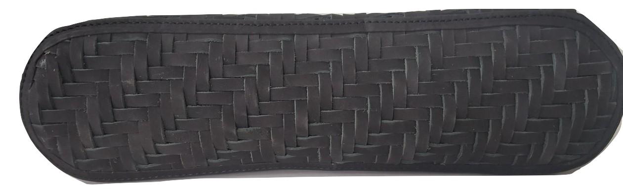Black Leather Weaved HandBag