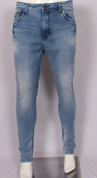 Mens Blue Dobby Skinny Fit Jeans