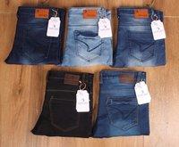 Mens Blue Dobby Skinny Fit Jeans