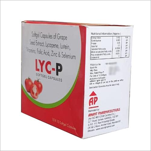 Softgel Grape Seed Extract Lycopene Lutein Vitamins Folic Acid Zinc And Selenium