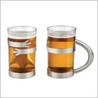 Steel And Glass Handle Mug