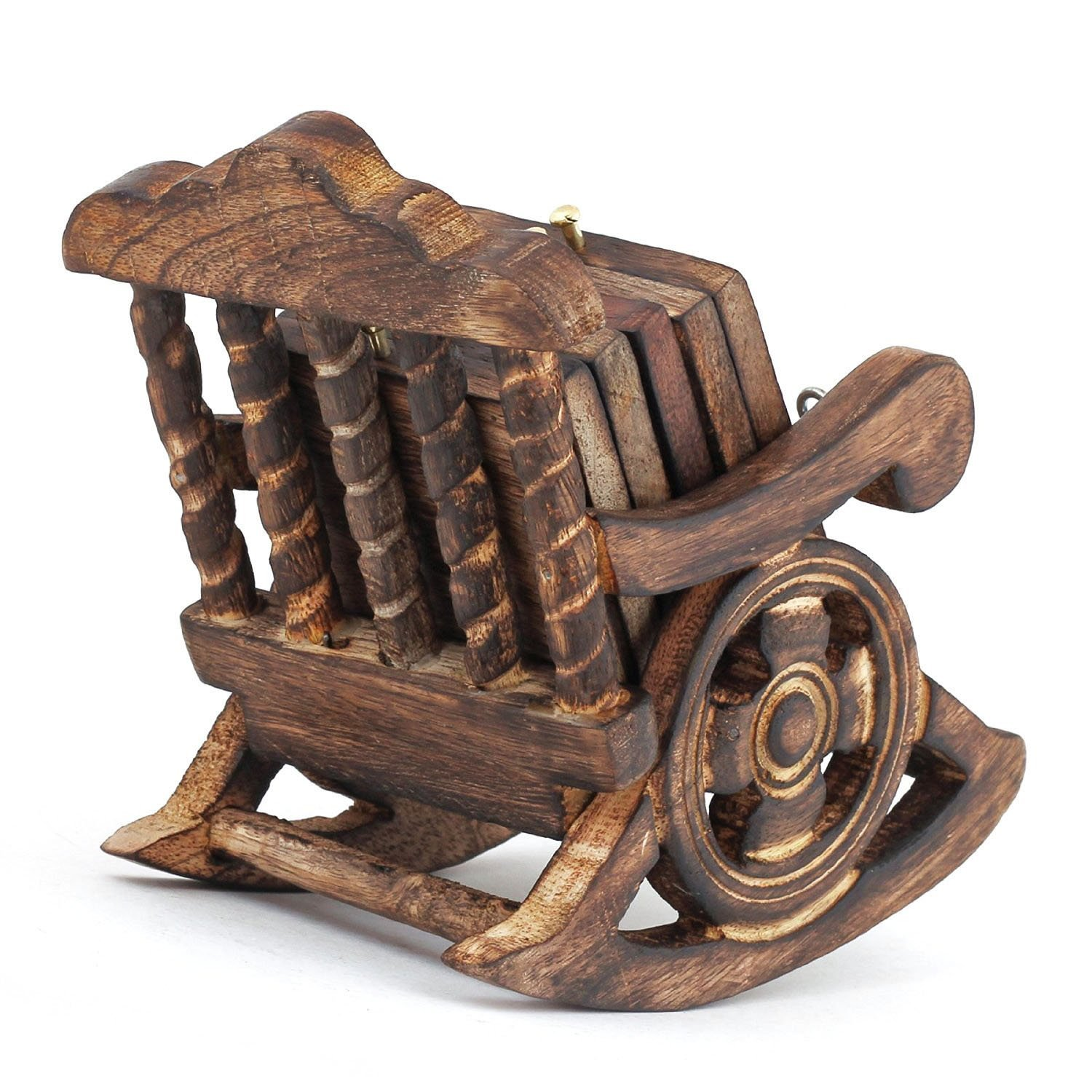 Wooden Antique Beautiful Miniature Rocking Chair Design Tea Coffee Coaster