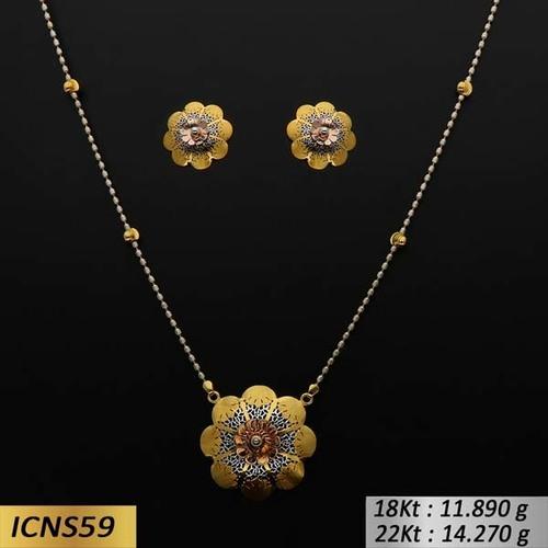 Flower Type Italian Gold Chain Set