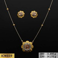 Flower Type Italian Gold Chain Set
