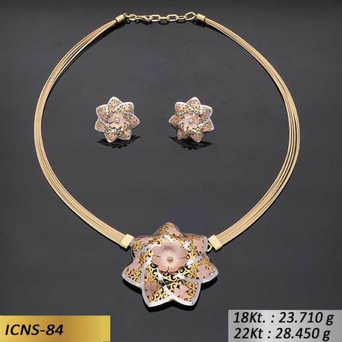 Heptagon Flower Shape Gold Chain Set