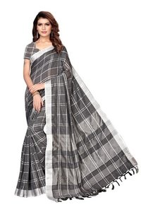 Printed Formal Wear Linen saree with Jhalar