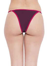 N-Gal Dual Tone Adjustable Waist Band G-String Thong Panty