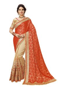 half and half heavy embroidered Satin saree collection