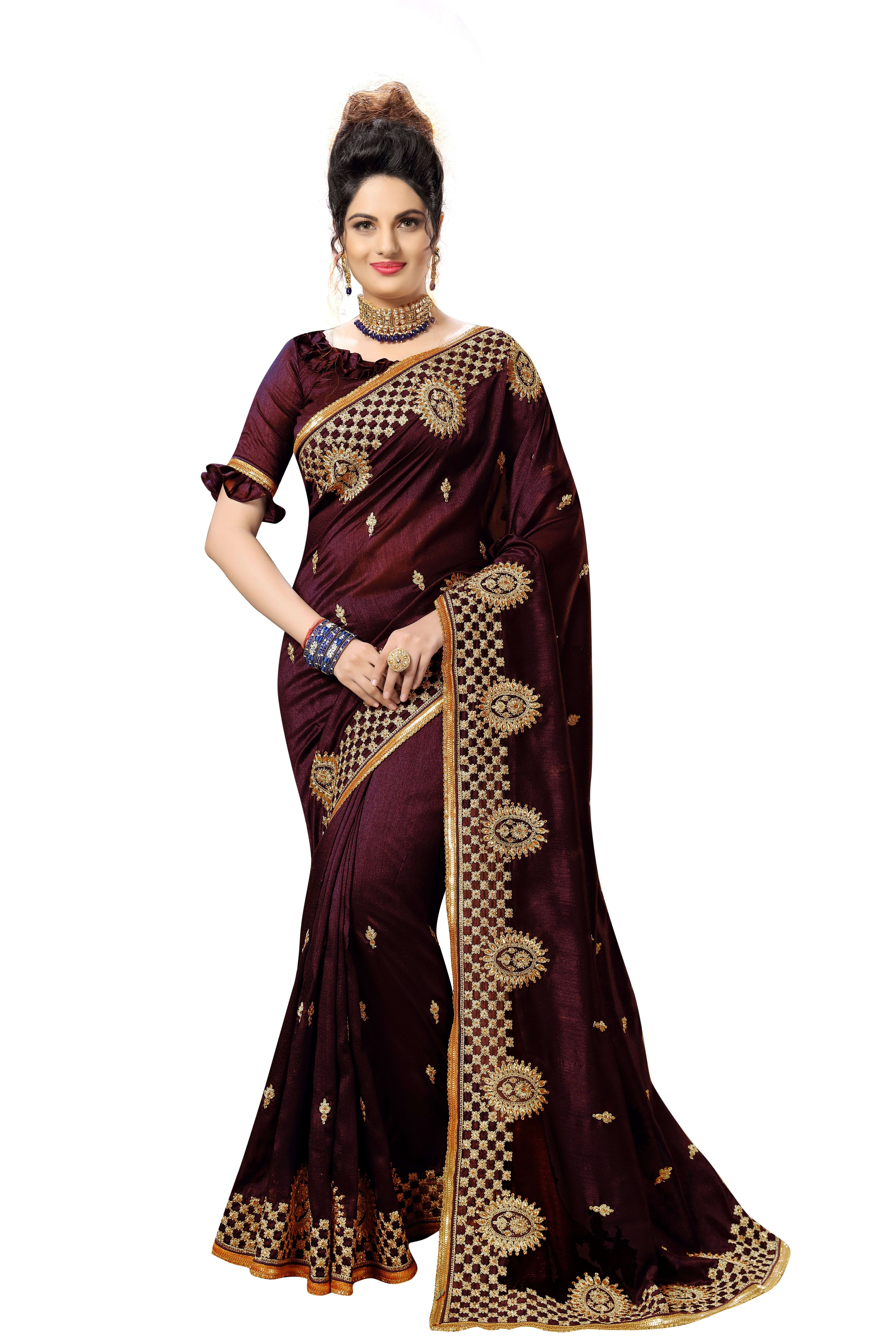 satin geometric embroidered saree collection