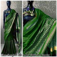 Raw Banglori Silk Saree with Zari Border