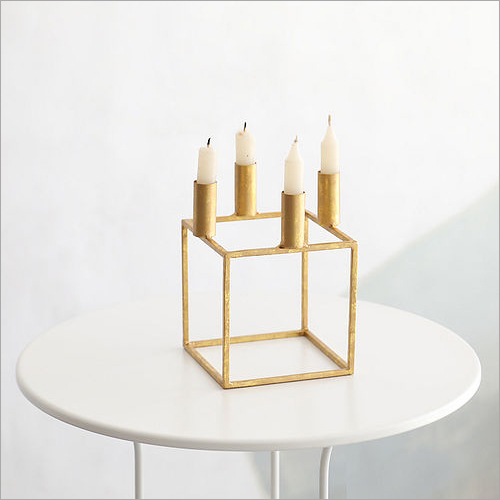 4 Burnished Copper Cube Candle Holder