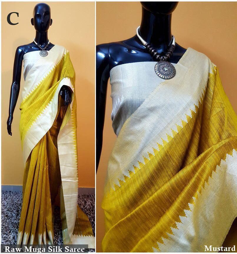 New Fancy Raw Muga Silk Saree