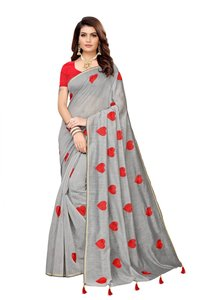 Fancy Heart Chanderi With Embroidery Saree