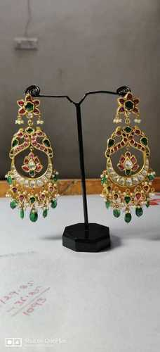 Designer Handmade Gold Earring With Emerald and Ruby Stone