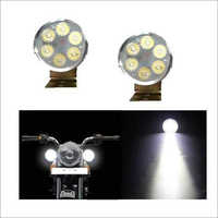 6-LED Round Spot Beam LED Bike Aux Lights White Set Of 2